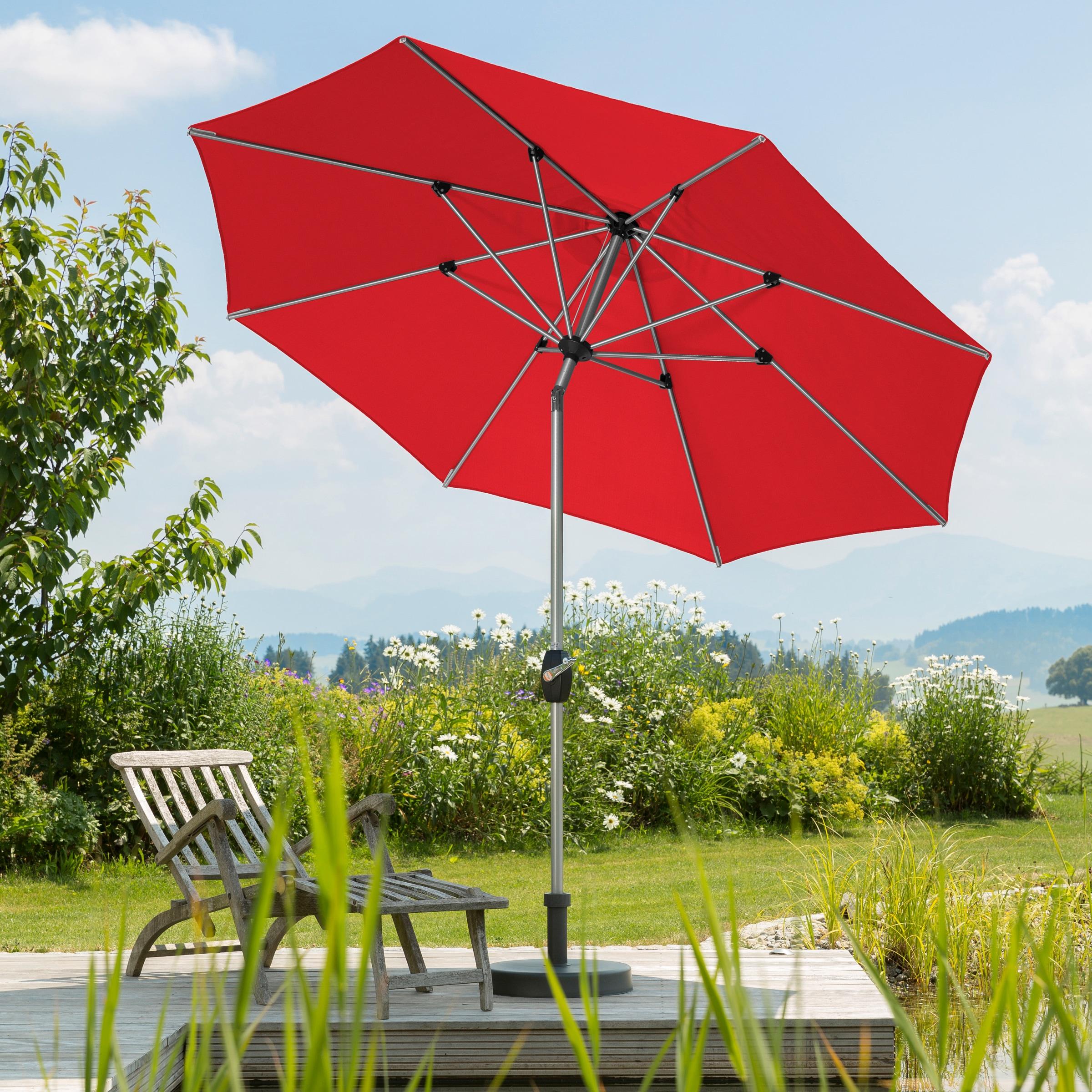 Schneider Schirme Sonnenschirm Venedig, ohne Schirmständer rot Sonnenschirme -segel Garten, Terrasse Balkon