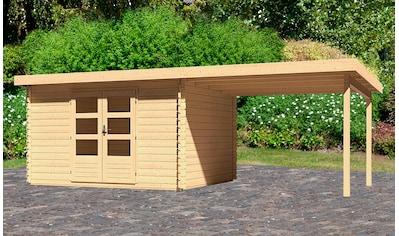 WOODFEELING Set: Gartenhaus »Bastrup 7«, BxT: 675x333 cm, mit Anbaudach kaufen