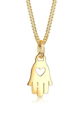 Elli Collierkettchen »Hamsa Hand Herz Symbol Talisman 585 Gelbgold« kaufen