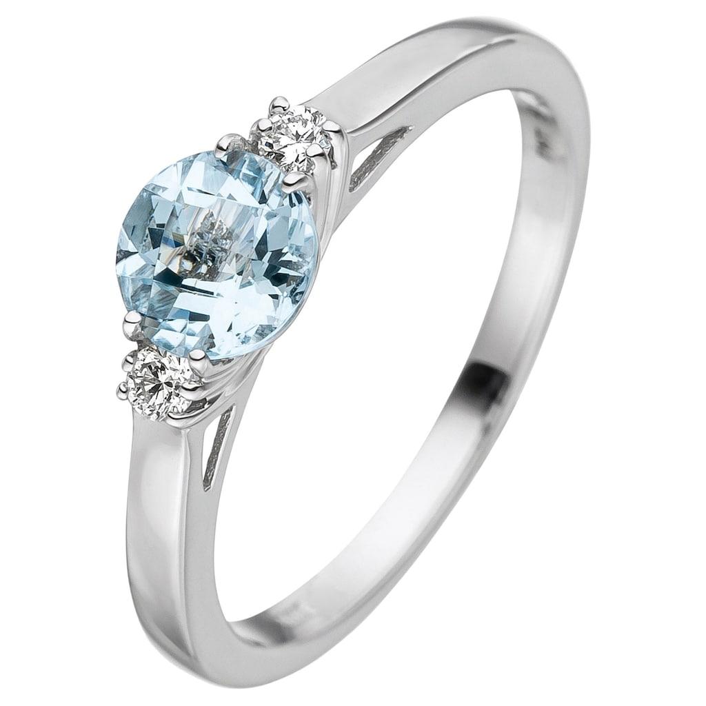 JOBO Diamantring, 585 Weißgold mit Aquamarin und 2 Diamanten