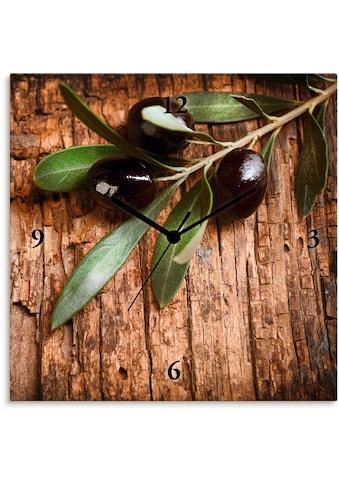 Artland Wanduhr »Oliven vor einem Holzhintergrund«, lautlos, ohne Tickgeräusche, nicht... kaufen