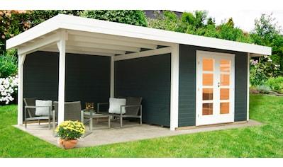 WOLFF FINNHAUS Set: Gartenhaus »Relax Lounge C«, BxT: 645x375 cm, inkl. Fußboden, Dachanbau mit Rückwand kaufen