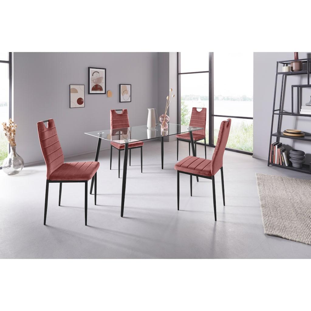 my home Essgruppe »Danny + Mandy«, (Set, 5 tlg.), Glastisch, Breite 140 cm und 4 Esszimmerstühlen, Bezug aus Samtstoff
