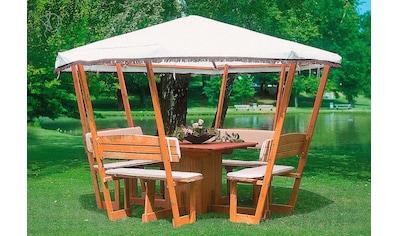 promadino Holzpavillon »Rosenheim«, BxT: 304x304 cm, inkl. Sitzgruppe kaufen