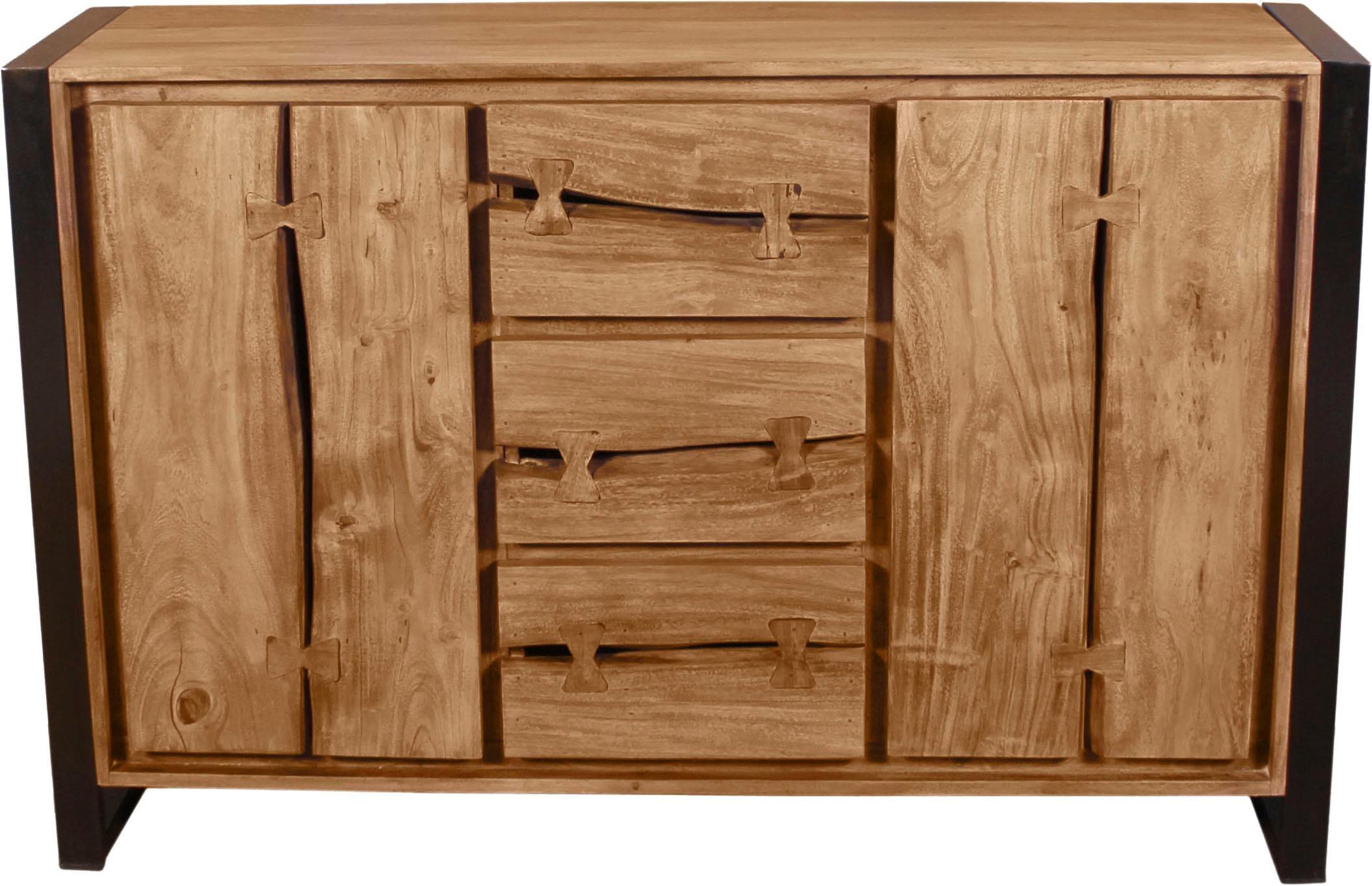 SIT Sideboard Live Edge aus Akazienholz mit markanten Baumkanten in der Front in zwei Breiten