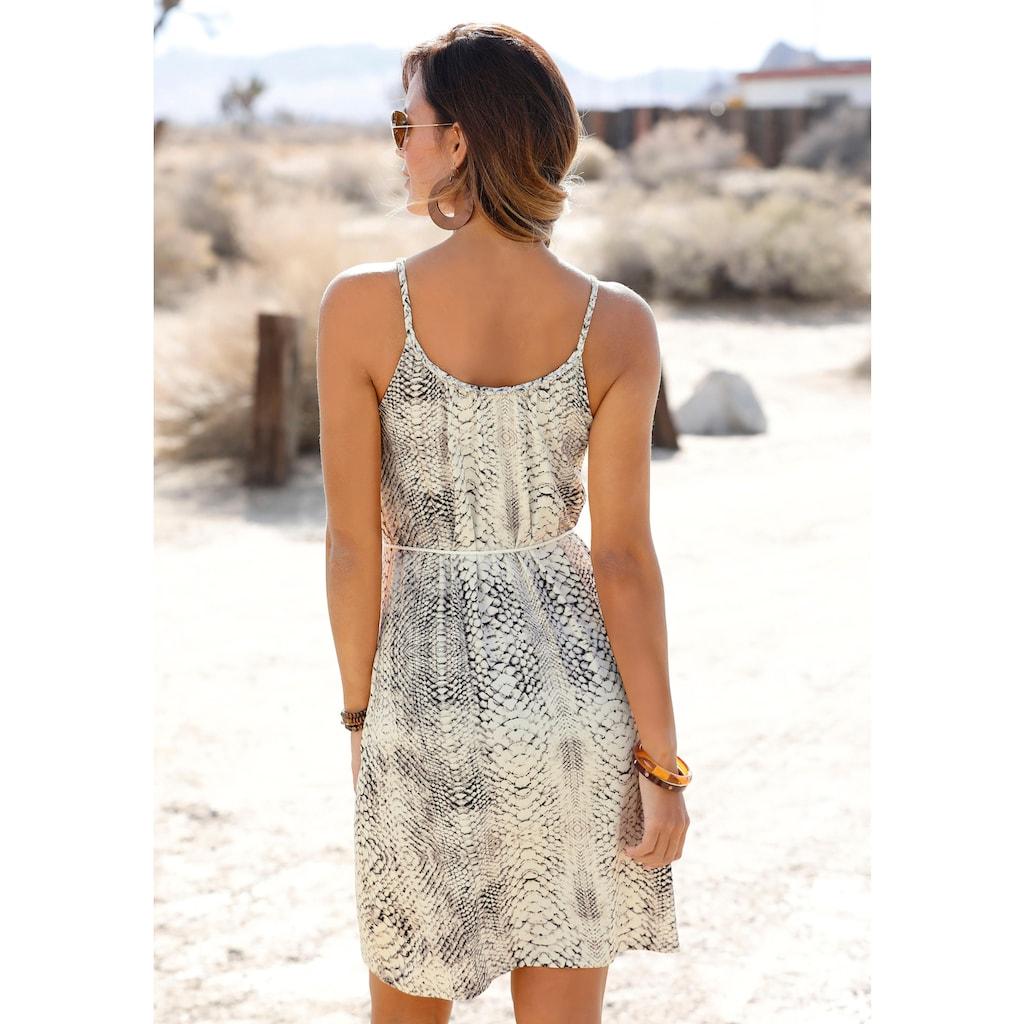 LASCANA Jerseykleid, (mit Bindegürtel), mit Schlangenprint
