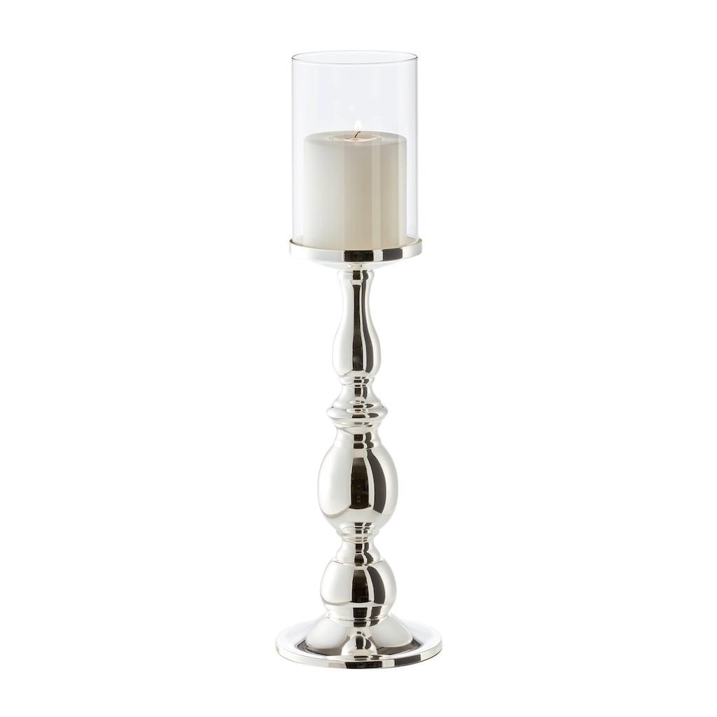 EDZARD Windlicht »Mascha«, Kerzenhalter für Stumpenkerzen, Kerzenleuchter im modernen Design, versilbert und anlaufgeschützt, Höhe 45 cm