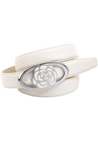 Anthoni Crown Ledergürtel, Weißer Ledergürtel mit Koppelschließe kaufen