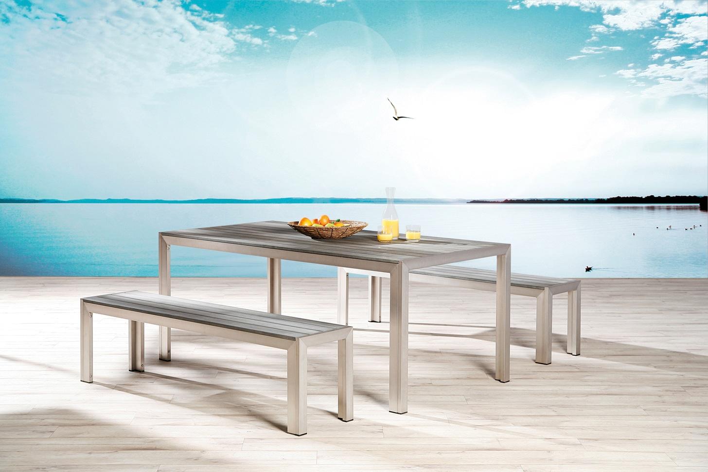 BEST Gartenmöbelset Seattle 3-tlg 2 Bänke Tisch 180x90 cm Aluminium