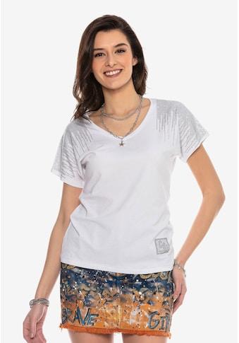 Cipo & Baxx T-Shirt »WT309«, mit glitzernden Schulter-Details kaufen