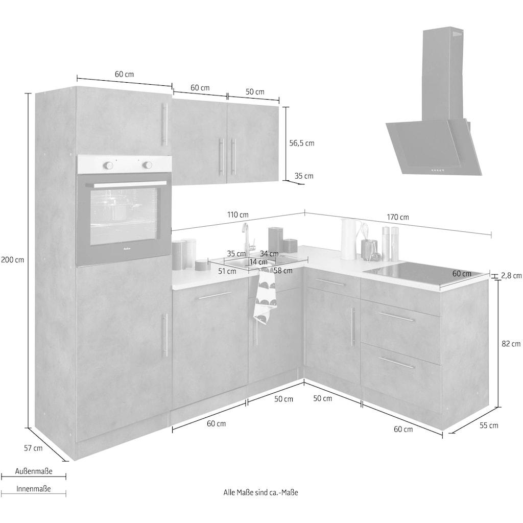 wiho Küchen Winkelküche »Cali«, mit E-Geräten, Stellbreite 230 x 170 cm