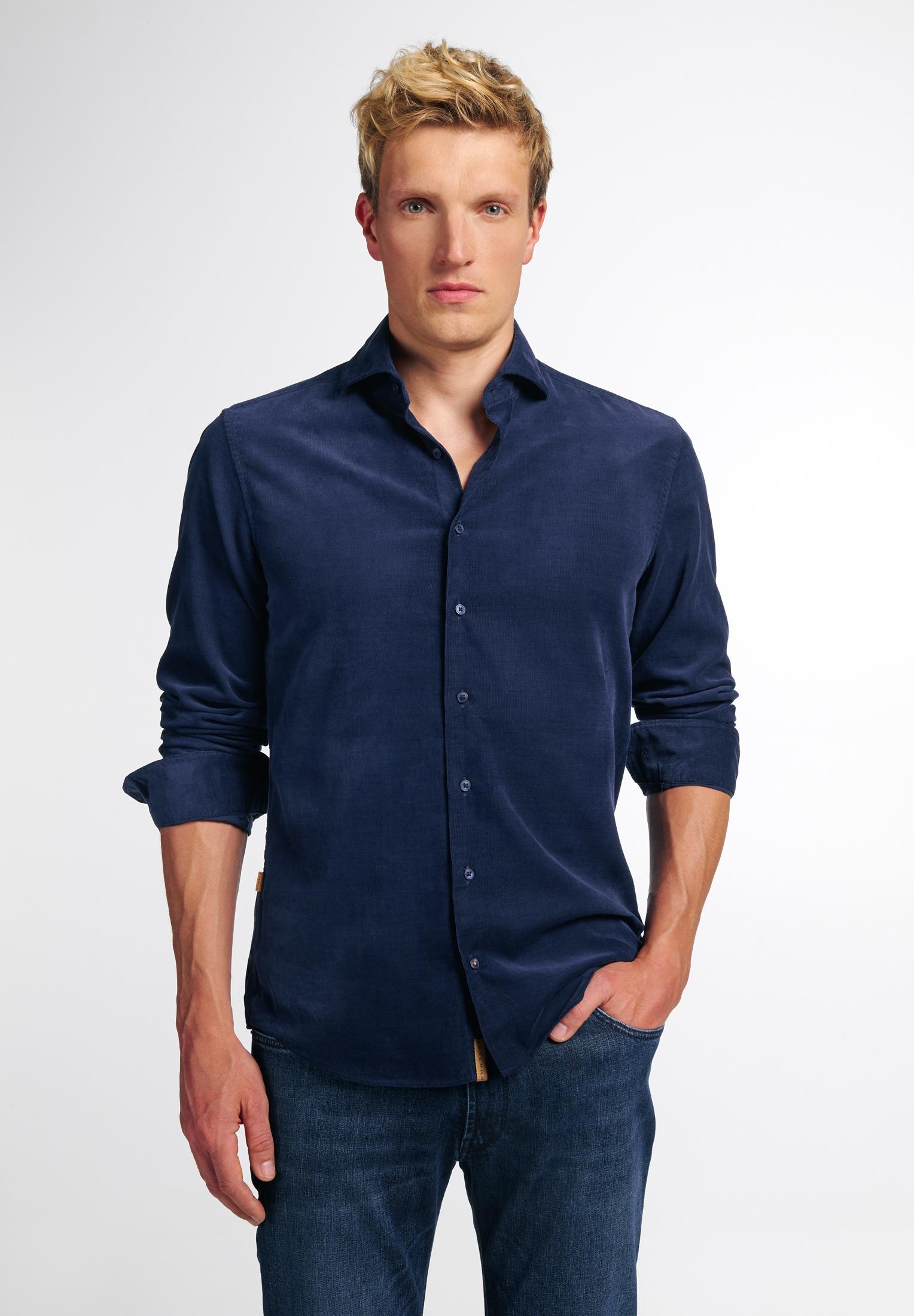 Eterna Businesshemd SLIM FIT, Langarm blau Herren Business Hemden Businessmode