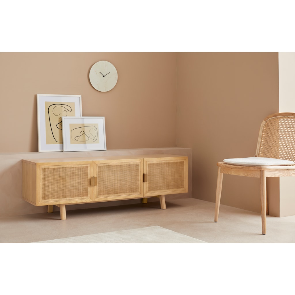 LeGer Home by Lena Gercke Lowboard »Lina«, Mit Rattan Einsatz, 4 Innenfächer, teilmassiv
