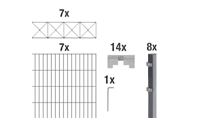 GAH Alberts Doppelstabmattenzaun »Nexus«, anthrazit, 120 cm hoch, 7 Matten für 14 m, 8... kaufen