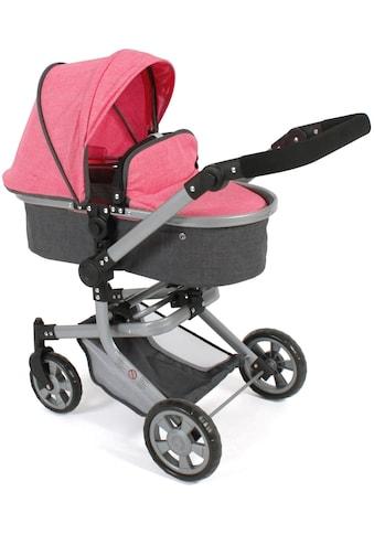 CHIC2000 Kombi-Puppenwagen »Mika, anthrazit-pink«, mit schwenkbaren Vorderrädern kaufen