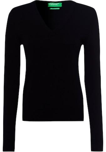 United Colors of Benetton V-Ausschnitt-Pullover, in kombistarker Basic-Form kaufen