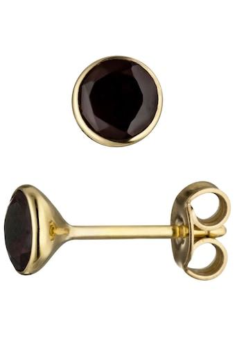 JOBO Paar Ohrstecker, rund 585 Gold mit Granat kaufen