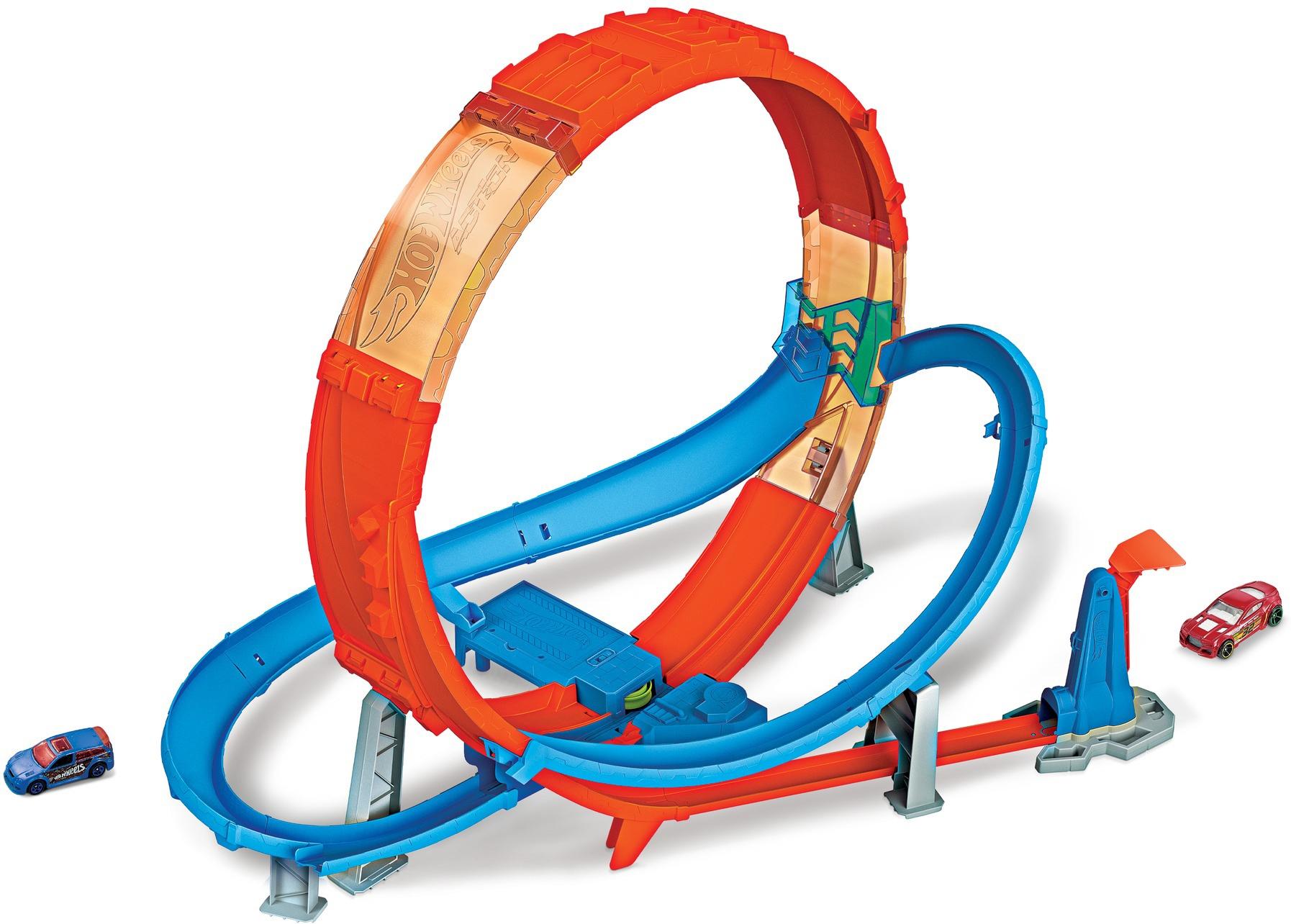 Hot Wheels Autorennbahn Looping Crash Trackset, inkl. 1 Spielzeugauto bunt Kinder Autorennbahnen Autos, Eisenbahn Modellbau