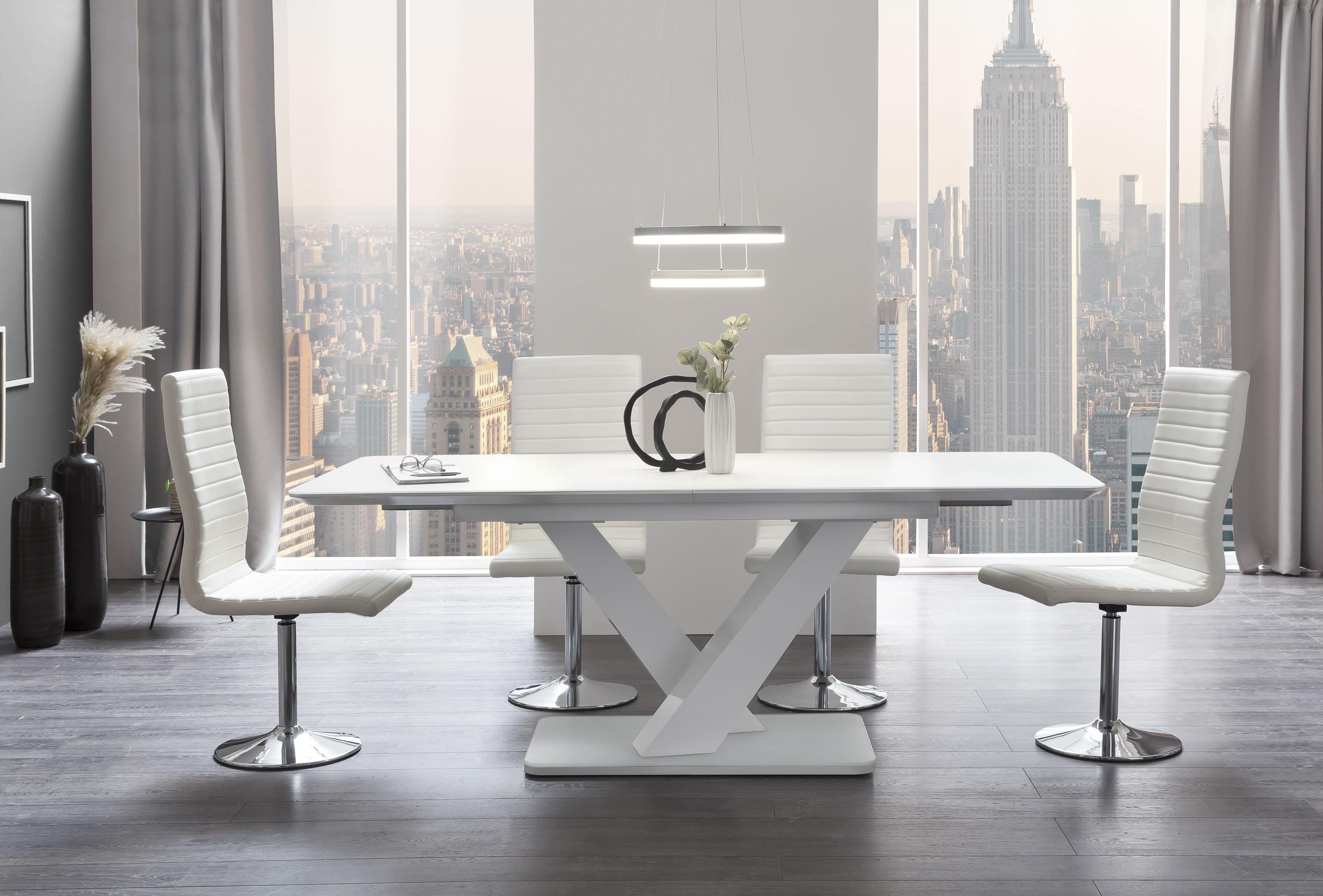 SalesFever Esstisch, Glastisch ausziehbar weiß Esstisch Esstische rechteckig Tische
