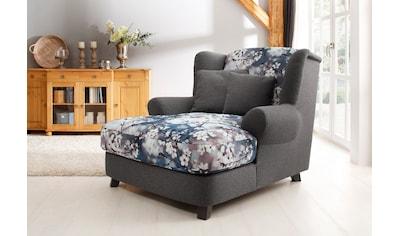 Home affaire XXL-Sessel »Oase II«, Mega-Sessel XXL incl. Zierkissen, Love-Seat - tolle Kombination aus Uni-Stoff mit Blumenmuster kaufen