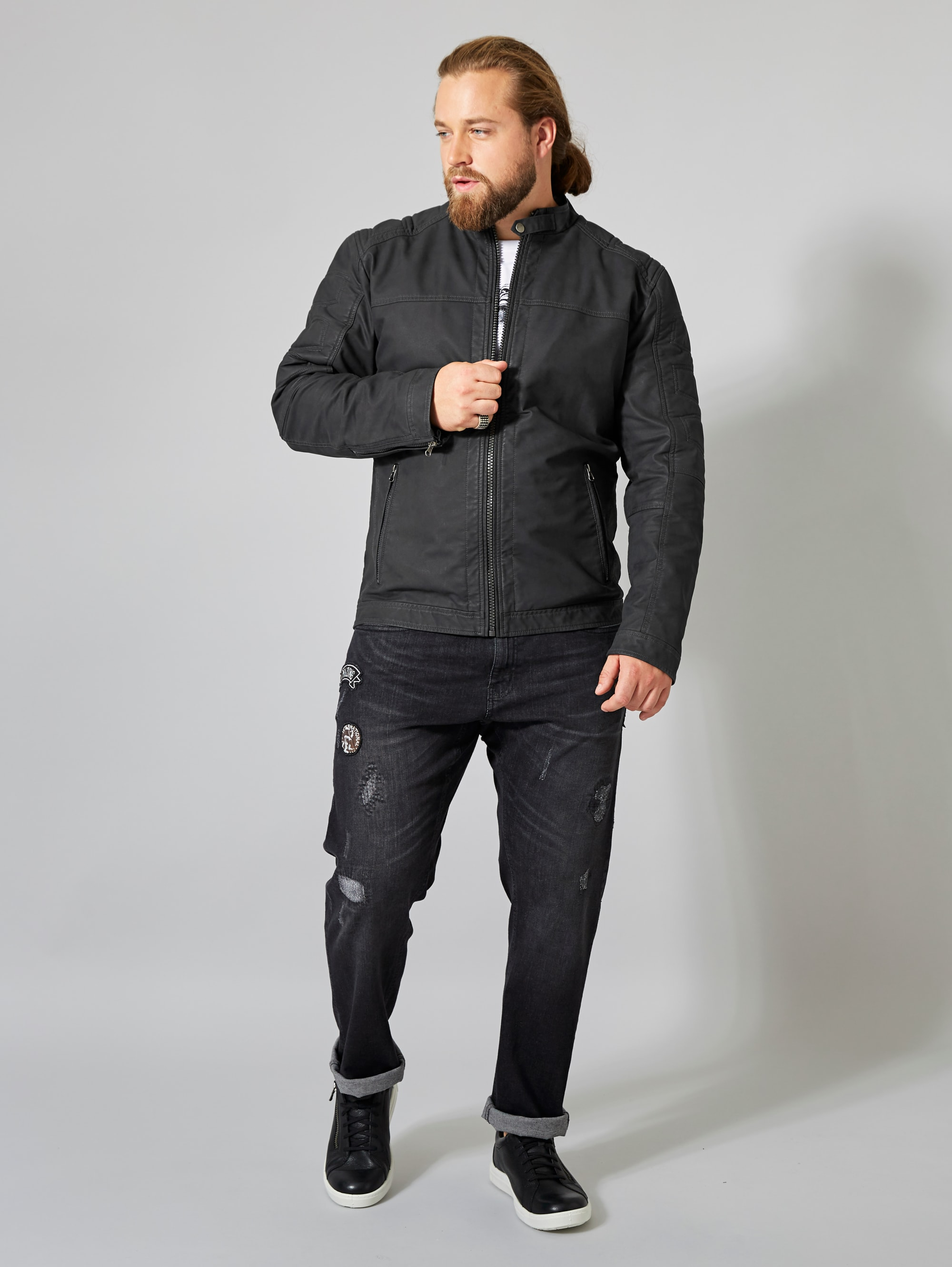 Men Plus by Happy Size Lederimitatjacke   Bekleidung > Jacken > Kunstlederjacken   Men Plus By Happy Size