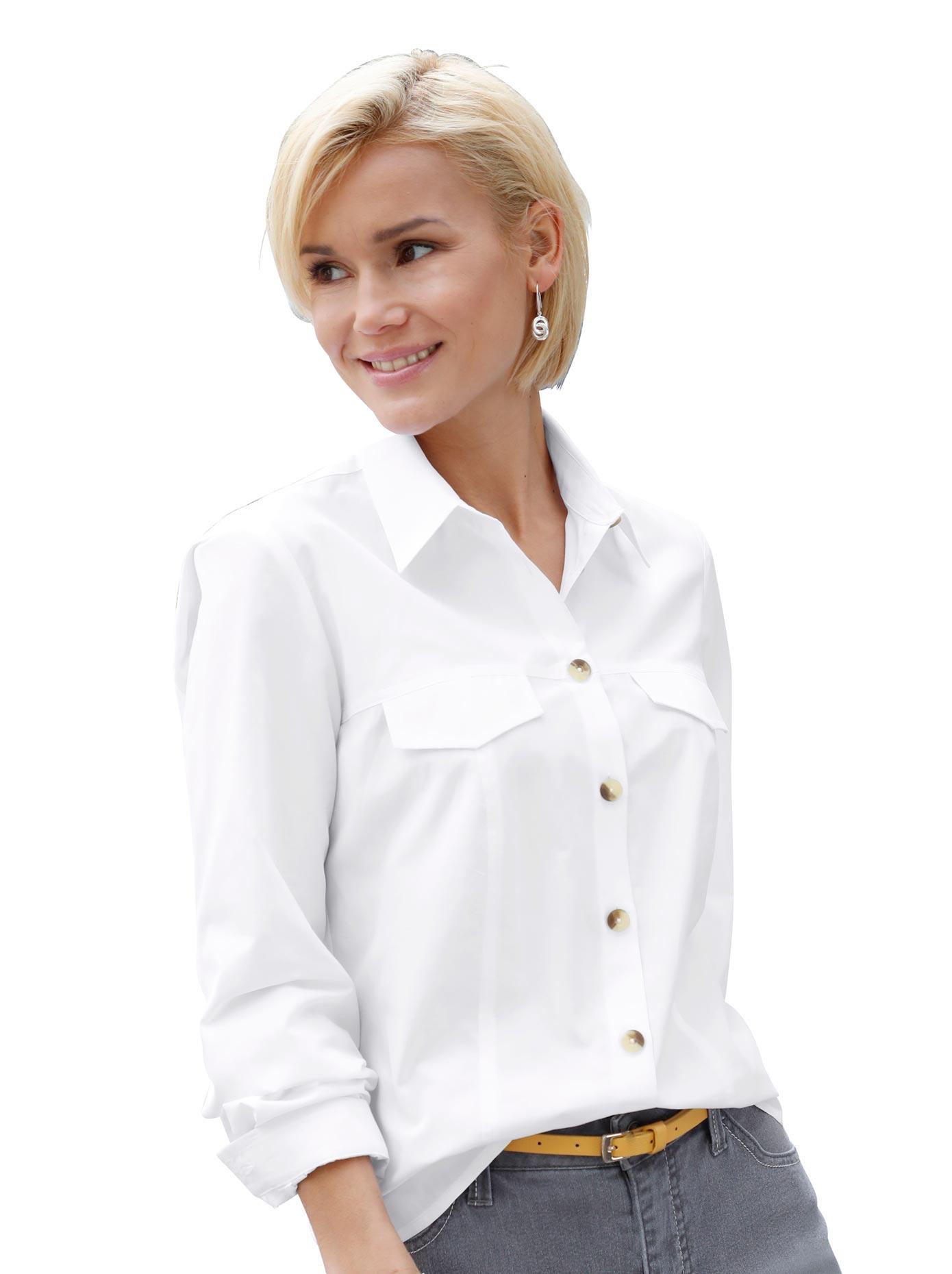 Casual Looks Bluse mit kontrastfarbigen Knöpfen