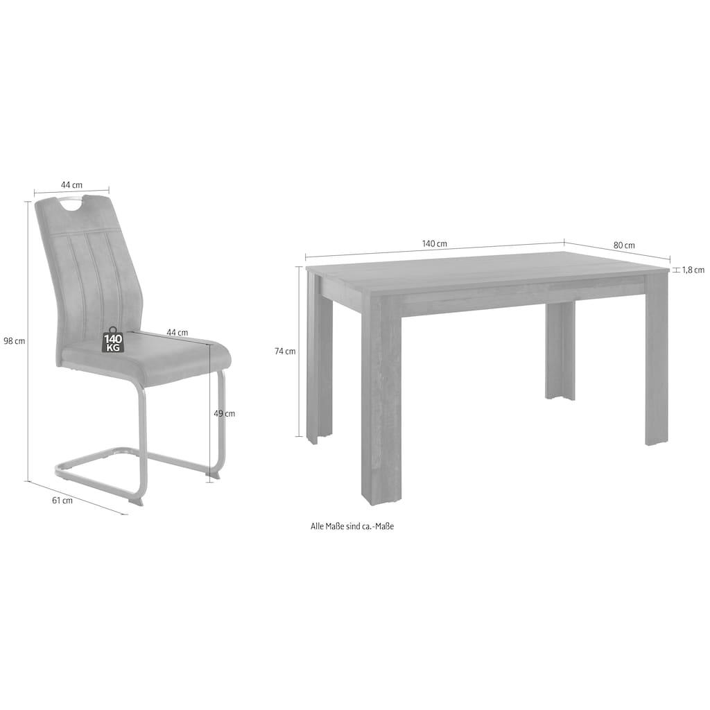HELA Essgruppe, (Set, 5 tlg.), bestehend aus 4 Stühle & 1x Tisch