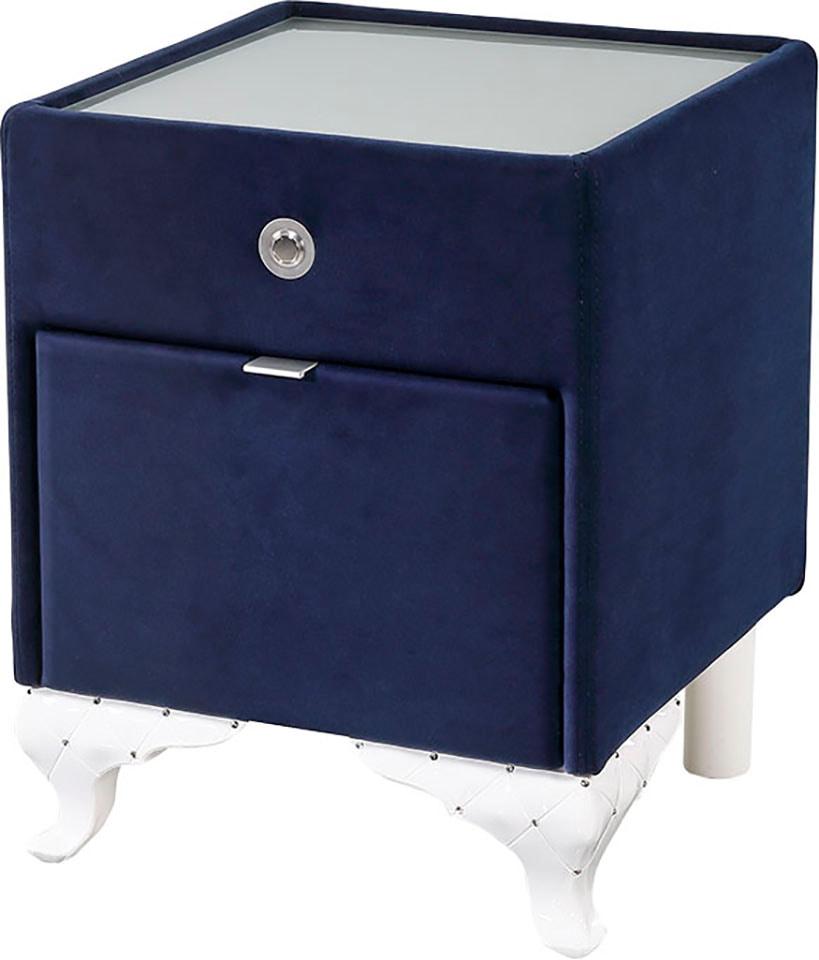 Jockenhöfer Gruppe Nachttisch, mit LED-Beleuchtung blau Nachtkonsolen und Nachtkommoden Nachttische Tische Nachttisch