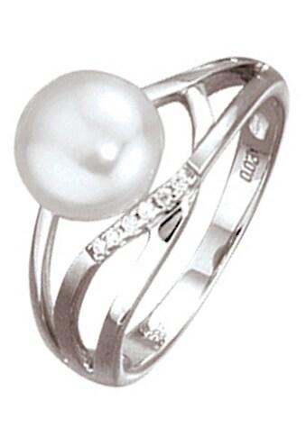 JOBO Diamantring, 585 Weißgold mit Perle und 6 Diamanten kaufen