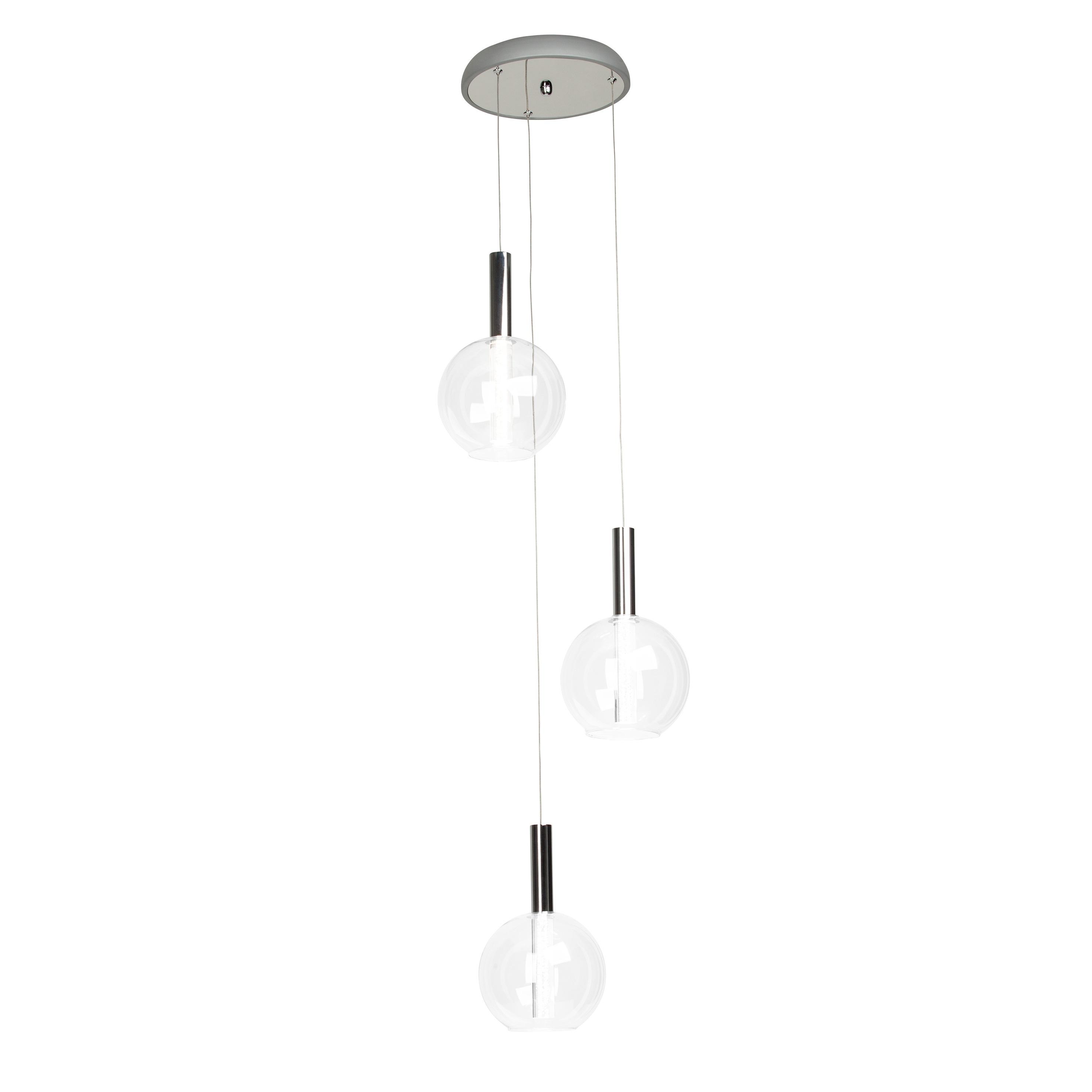Brilliant Leuchten Elegant LED Pendelleuchte 3flg chrom/transparent