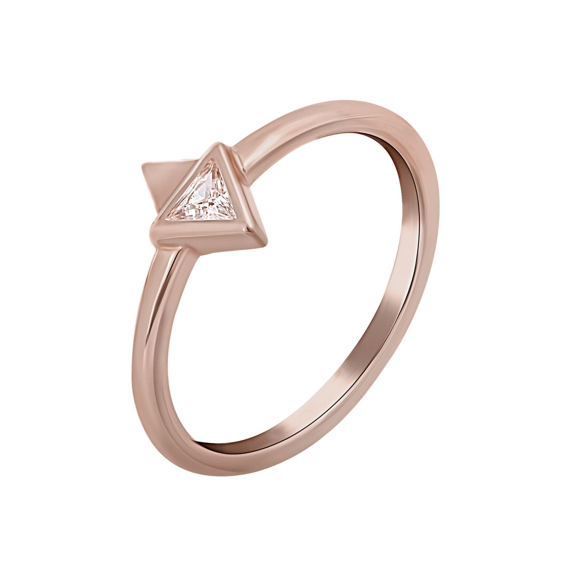 caï - CAÏ Silberring 925 Silber rosévergoldet mit Zirkonia Dreieck, Glänzend