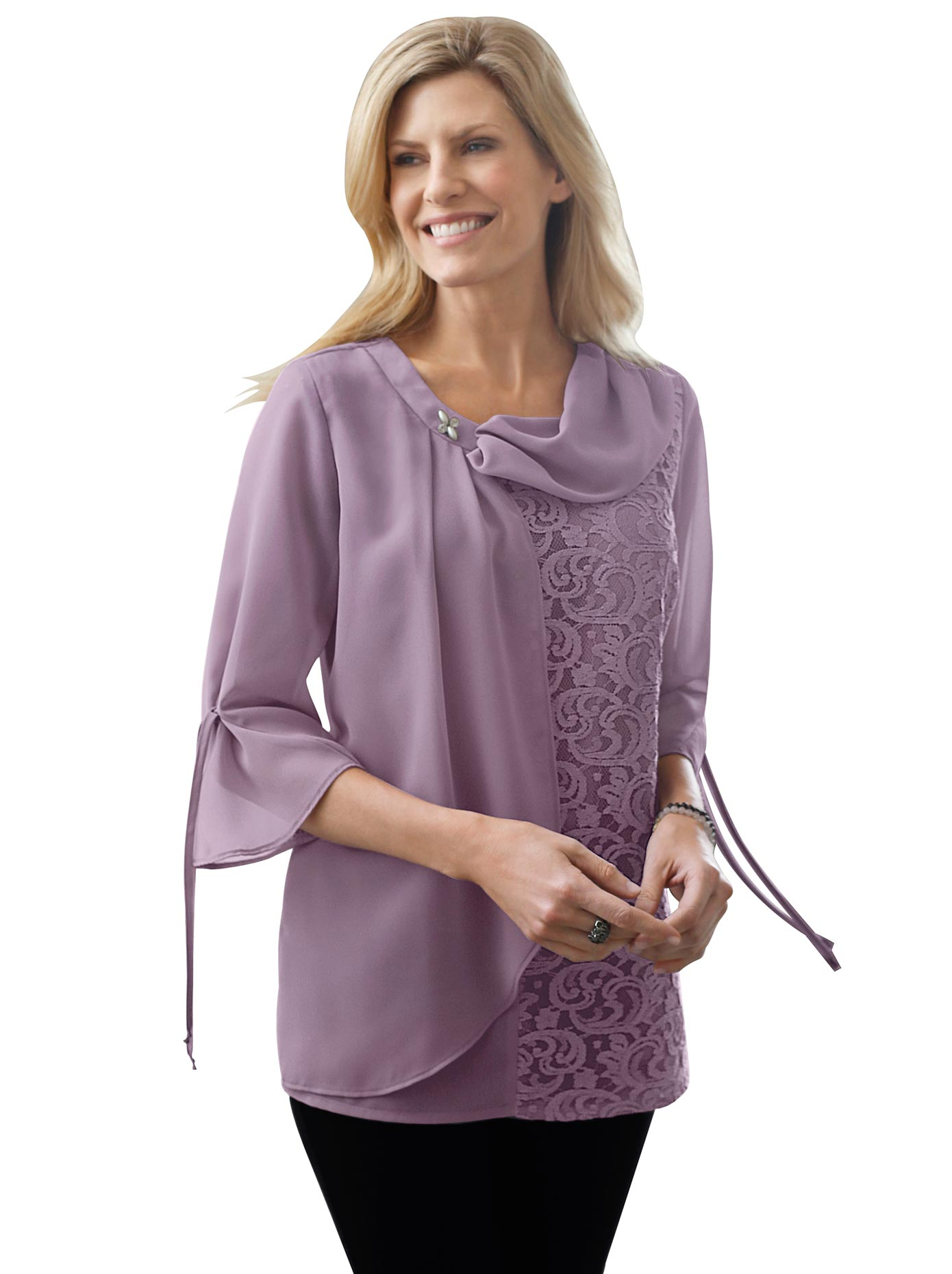 Classic Basics Bluse mit raffiniertem Ausschnitt