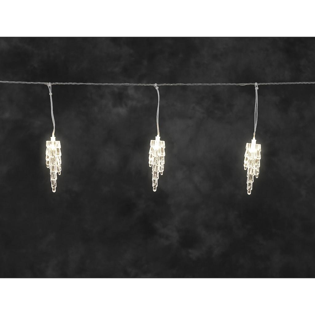 KONSTSMIDE Lichtervorhang »Eiszapfen«, mit warmweißen Dioden, Kabellänge ca. 4 Meter