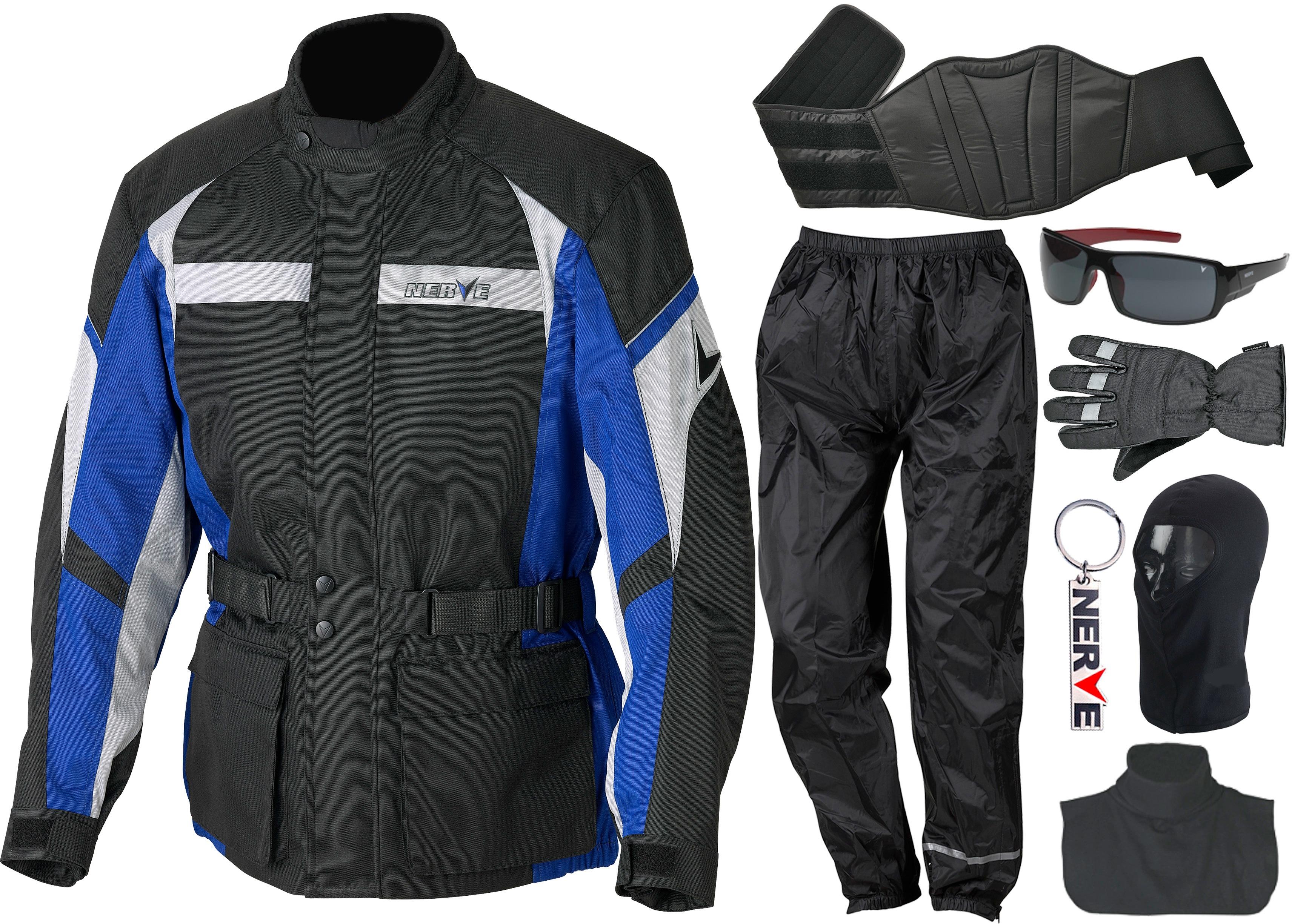 NERVE Motorradkombi, (Set, 8 tlg.) blau Schutzbekleidung Zubehör Motorroller Mofas Motorradkombi