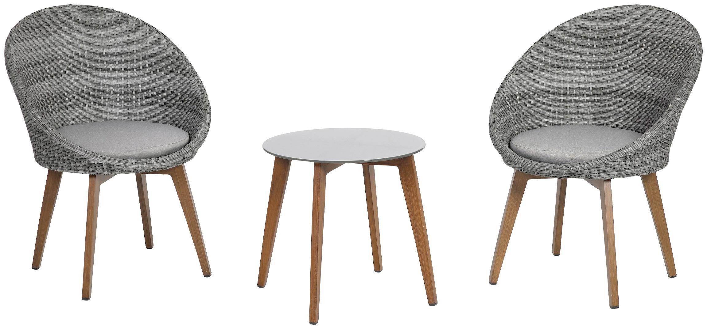 GREEMOTION Gartenmöbelset Auckland 3 tlg 2 Sessel Tisch inkl Auflagen