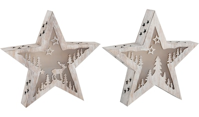 Home affaire LED Stern »Godehard«, 2 St., Warmweiß, Höhe ca. 29 cm, Batteriebetrieb,... kaufen