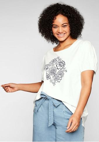 Sheego T-Shirt, mit aufwendiger Blüten-Stickerei kaufen