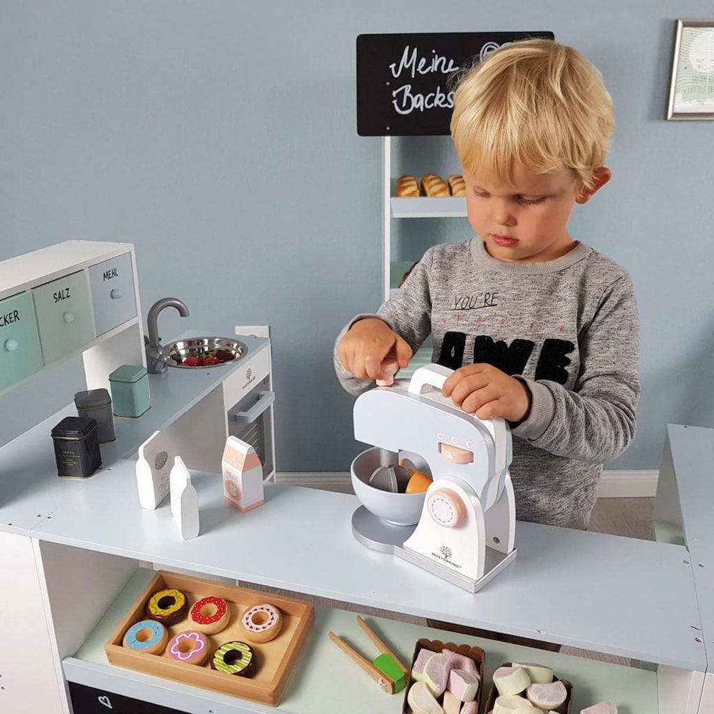 MUSTERKIND® Kinder-Rührgerät »Olea, weiß/graublau«, (Set, 7 tlg.), Mixer verstellbar & Rührschüssel herausnehmbar