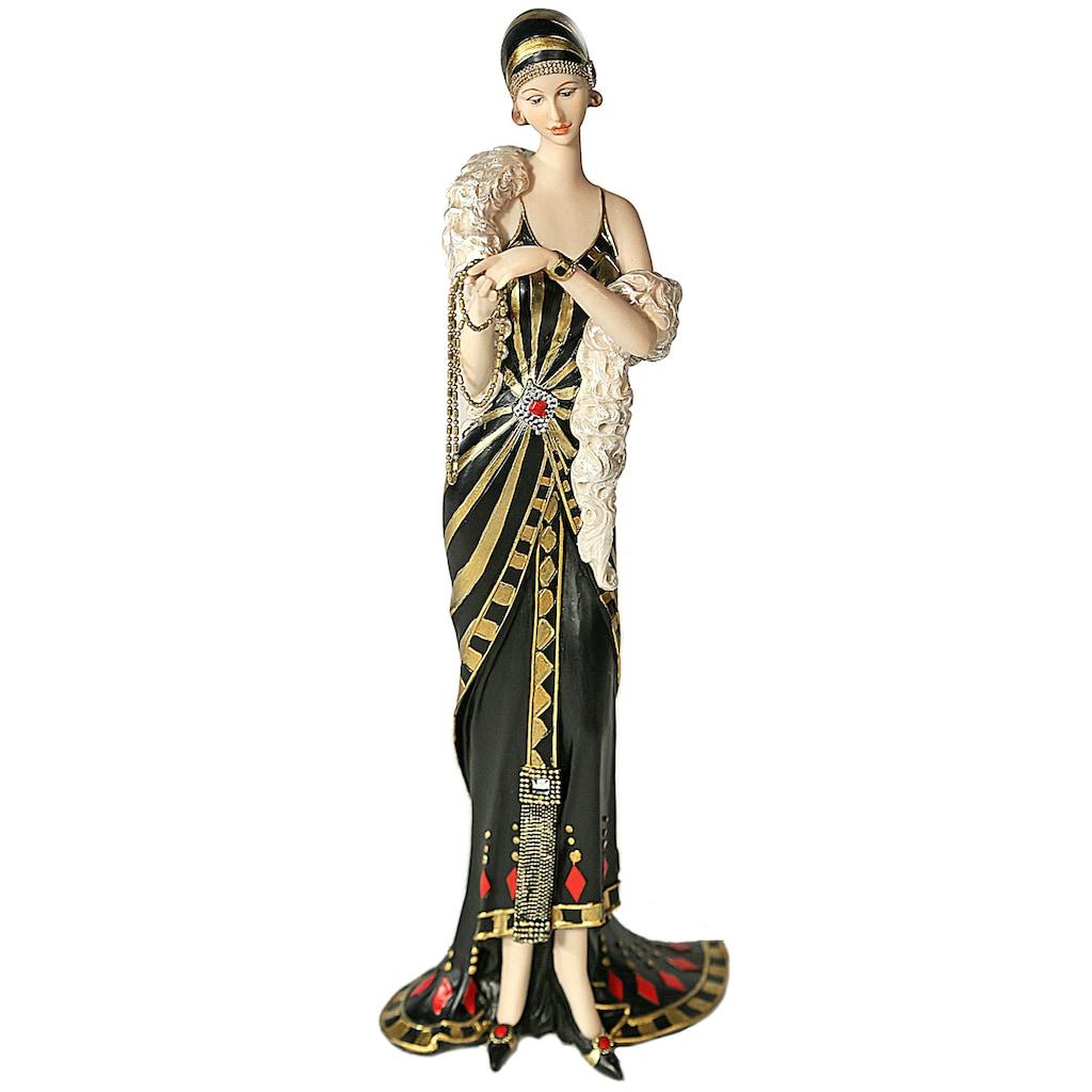 Casa Collection by Jänig Dekofigur »elegante Dame stehend mit Kette in der Hand, schwarz-gold, H: 33cm«
