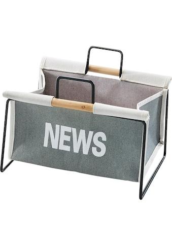 locker Zeitungsständer »Zeitungsständer aus Metall, schwarz und Canvas grau« kaufen