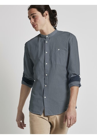 TOM TAILOR Denim Langarmhemd »Gestreiftes Hemd mit Stehkragen« kaufen