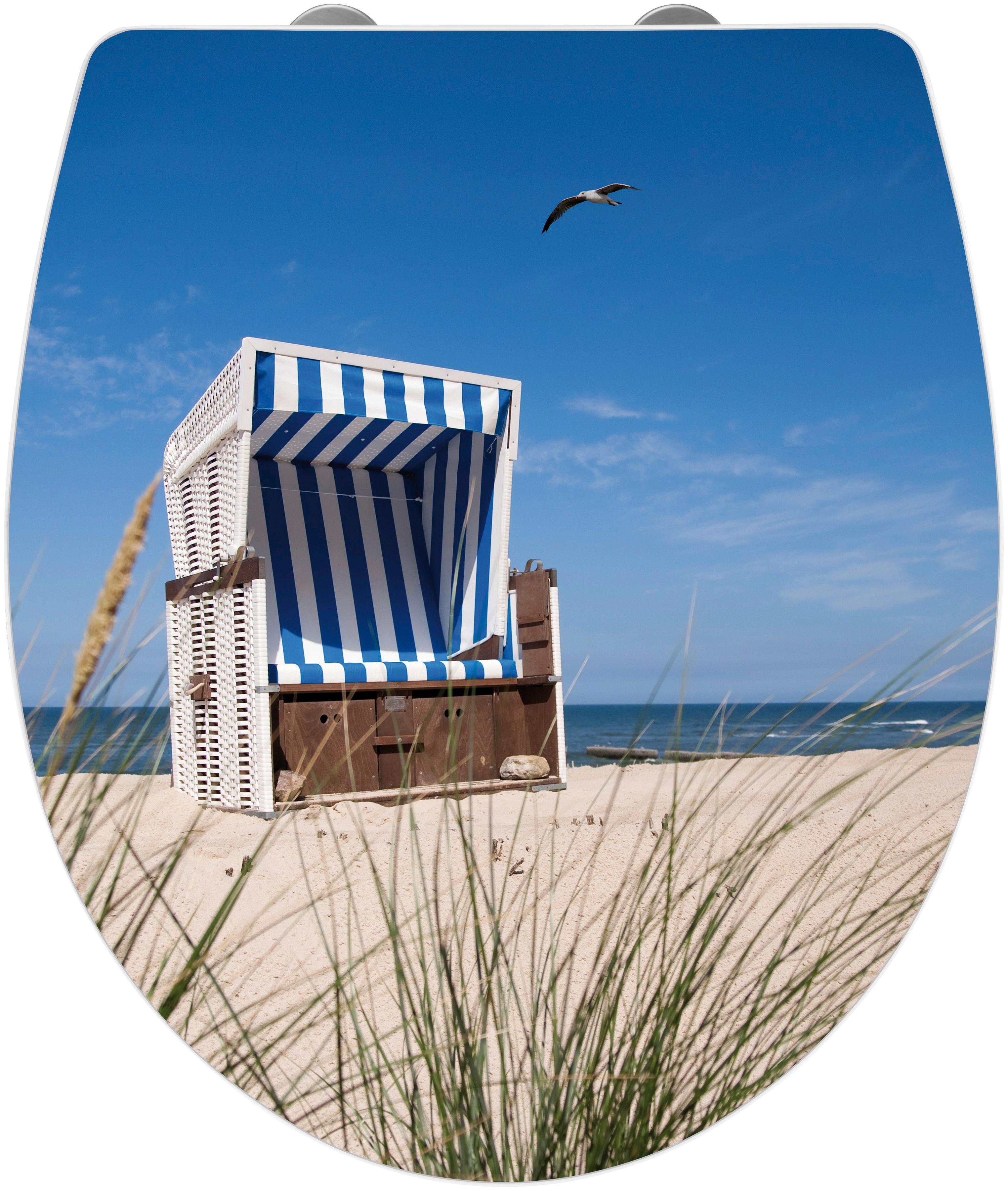WENKO WC-Sitz Strandkorb, Mit Absenkautomatik blau WC-Sitze WC Bad Sanitär