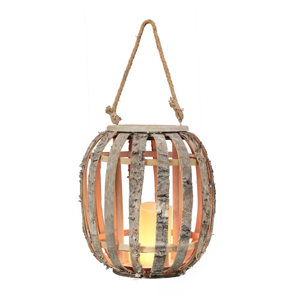 BONETTI LED Laterne »Birken-Laterne«, Warmweiß, mit LED-Kerze und Flammeneffekt