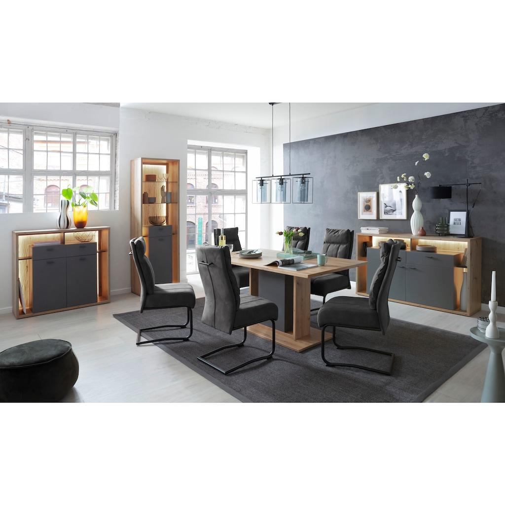 MCA furniture Highboard »Lizzano«, moderner Landhausstil, Wohnzimmerschrank mit 3-D Rückwand, wahlweise mit Beleuchtung