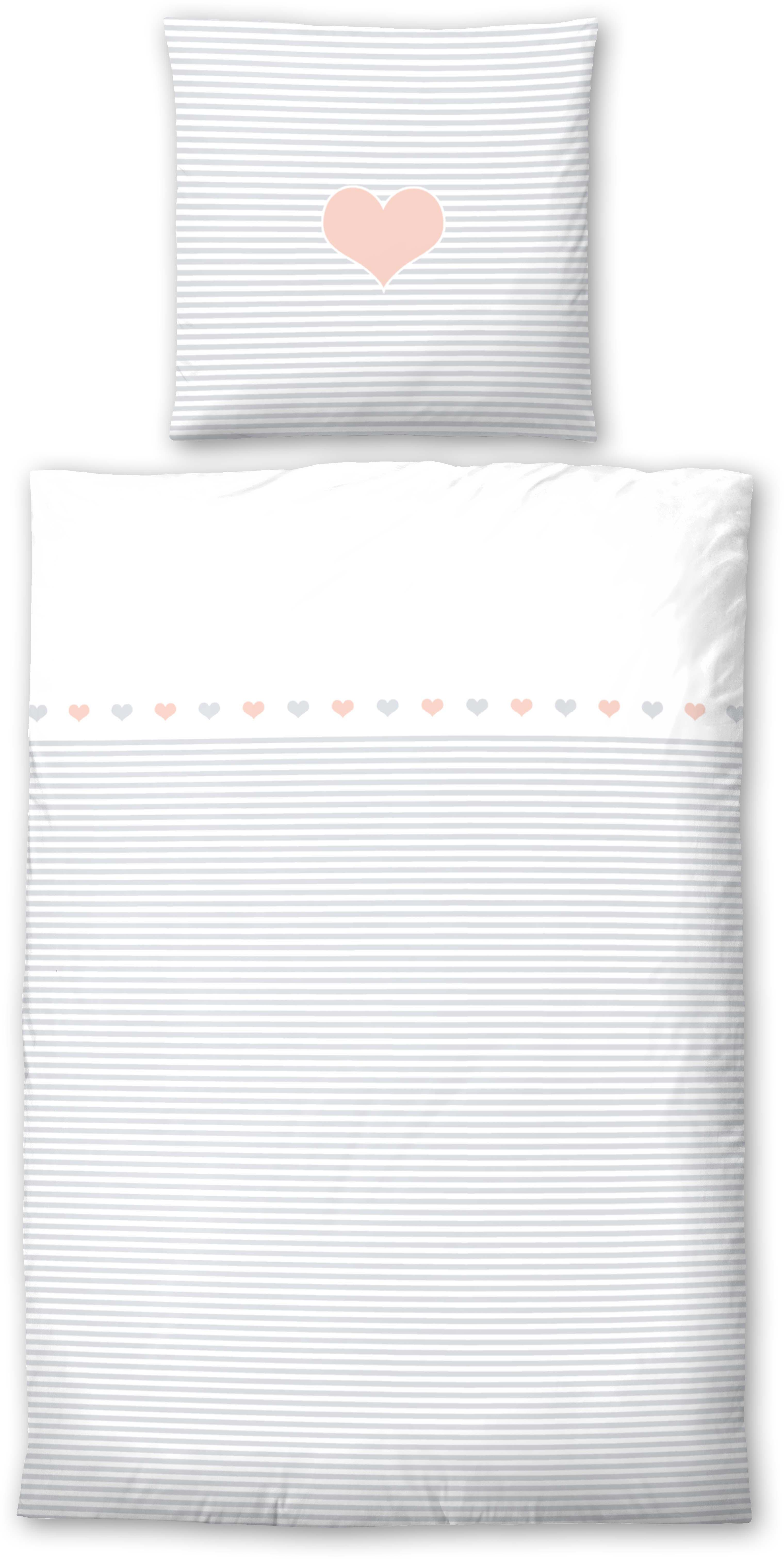 Kinderbettwäsche Striped Heart Biberna