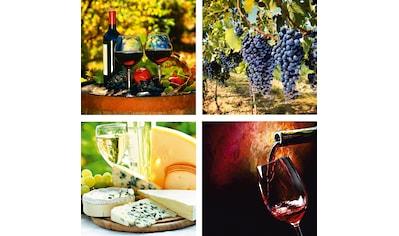 Home affaire Leinwandbild »Gläser, Weintrauben, Käse, Wein« kaufen