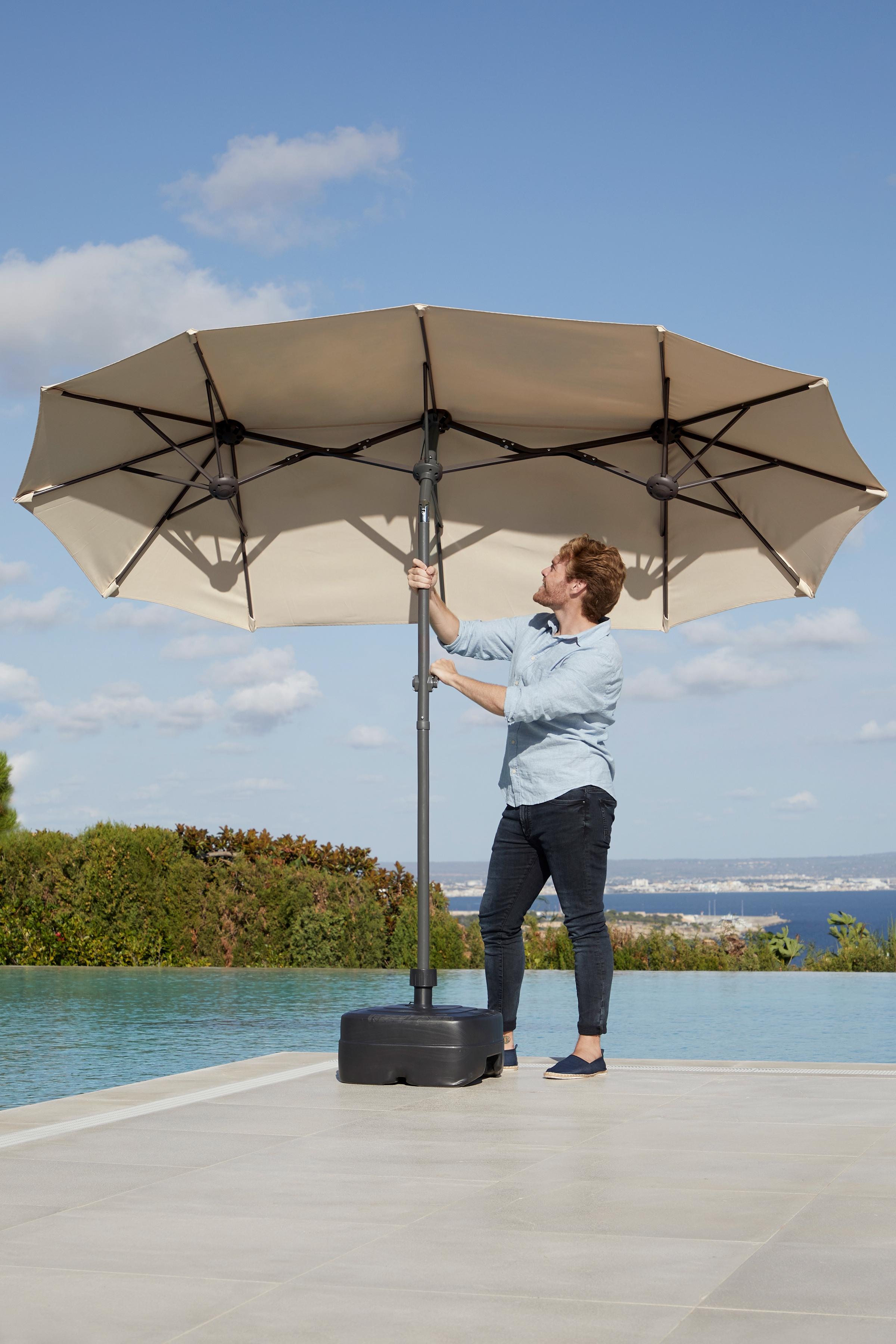 garten gut Sonnenschirm Malaga, Inkl. Schutzhülle, ohne Schirmständer beige Sonnenschirme -segel Gartenmöbel Gartendeko