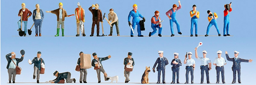 NOCH Modelleisenbahn-Figur Bei der Arbeit, (Set, 24 tlg.), für Spurweite H0 bunt Kinder Noch