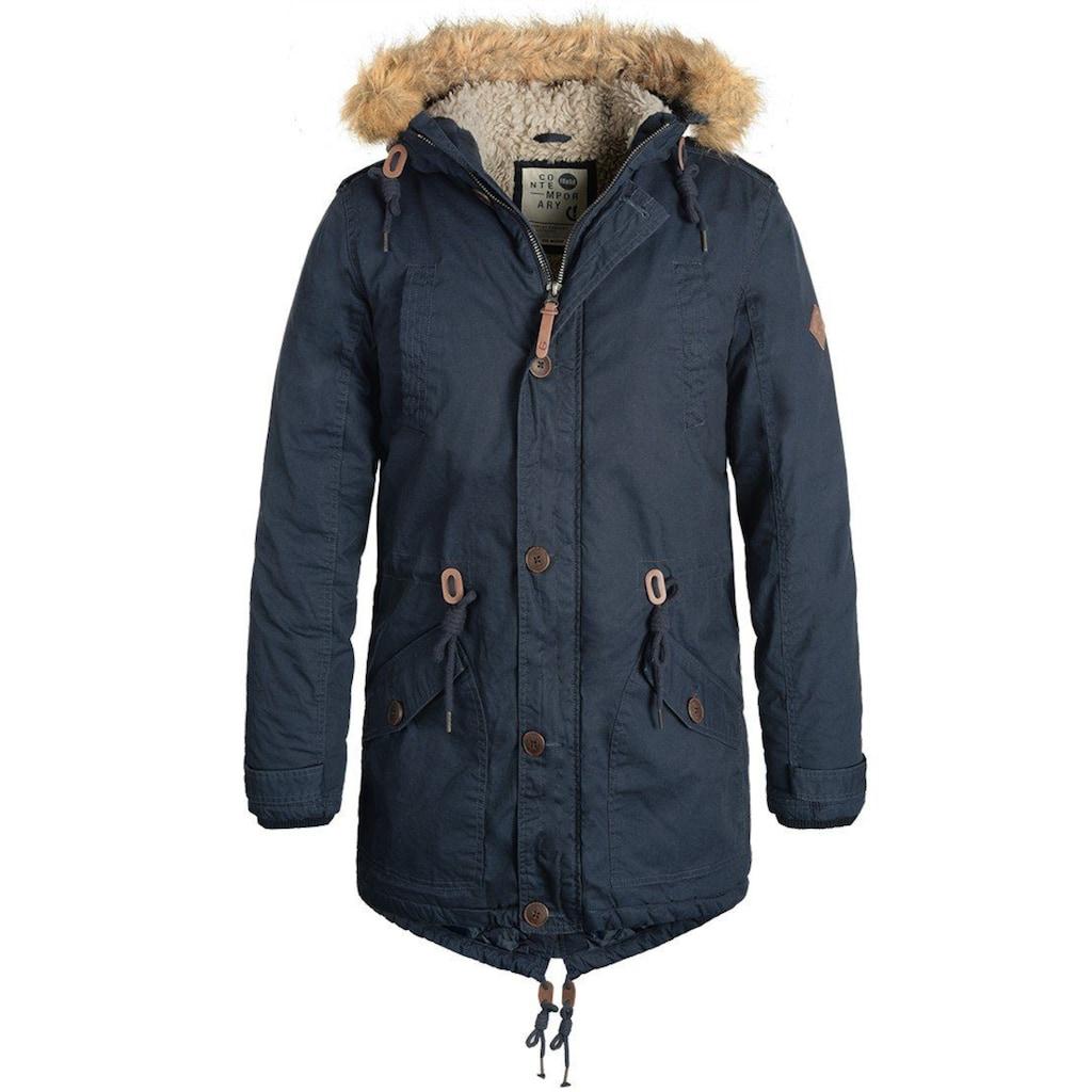 Solid Winterjacke »Clark Teddy«, warme Jacke mit abnehmbarem Kunstfellkragen