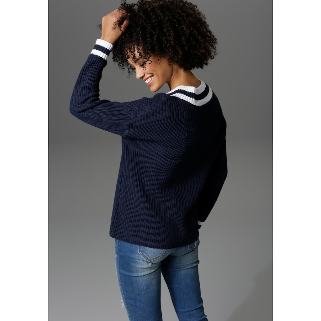 Aniston CASUAL V-Ausschnitt-Pullover, mit gestreiften Bündchen